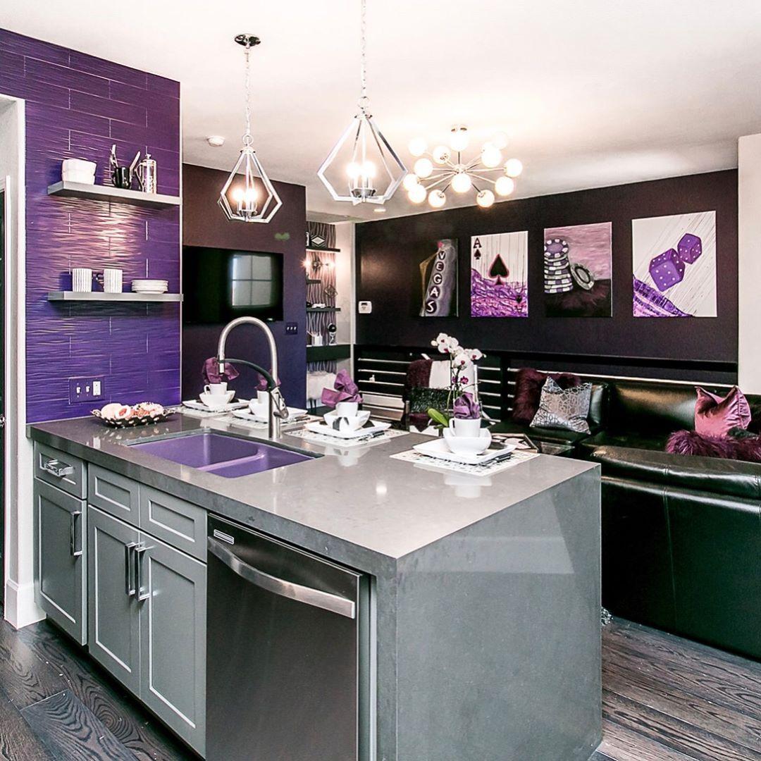 Episode 9 Of Flip Or A Flop Vegas The Rock Star Purple Condo Hgtv Fliporflopvegas Interiorde Purple Kitchen Purple Kitchen Cabinets Kitchen Cabinet Colors