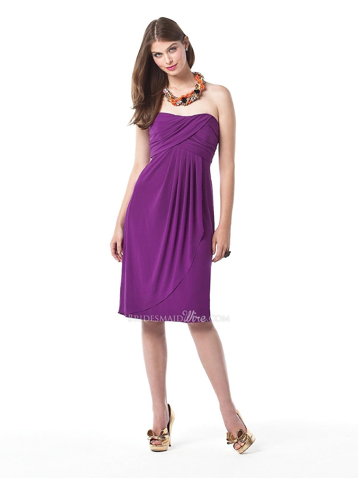 persian plum strapless #cocktail length empire waist draped ...