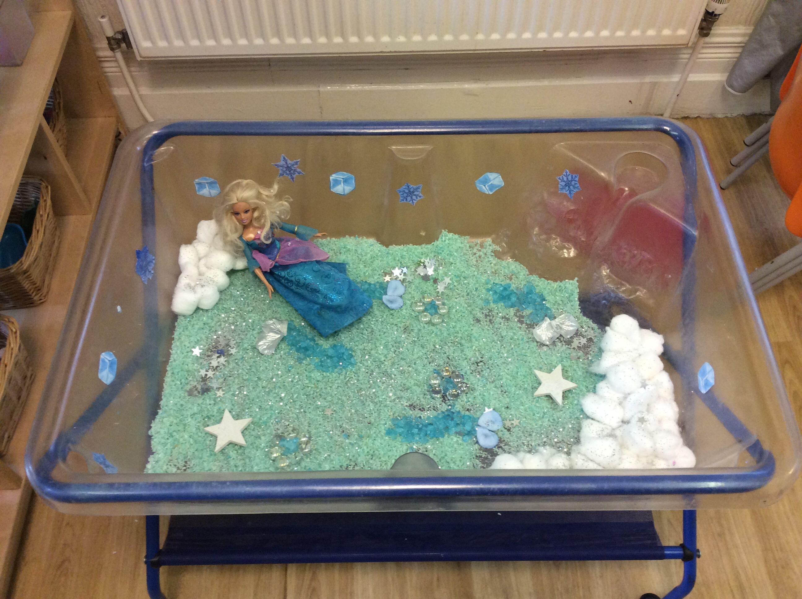 Preschool Classroom 'Frozen' water play (peppermint green rice and glass pebbles, cotton wool, petals)