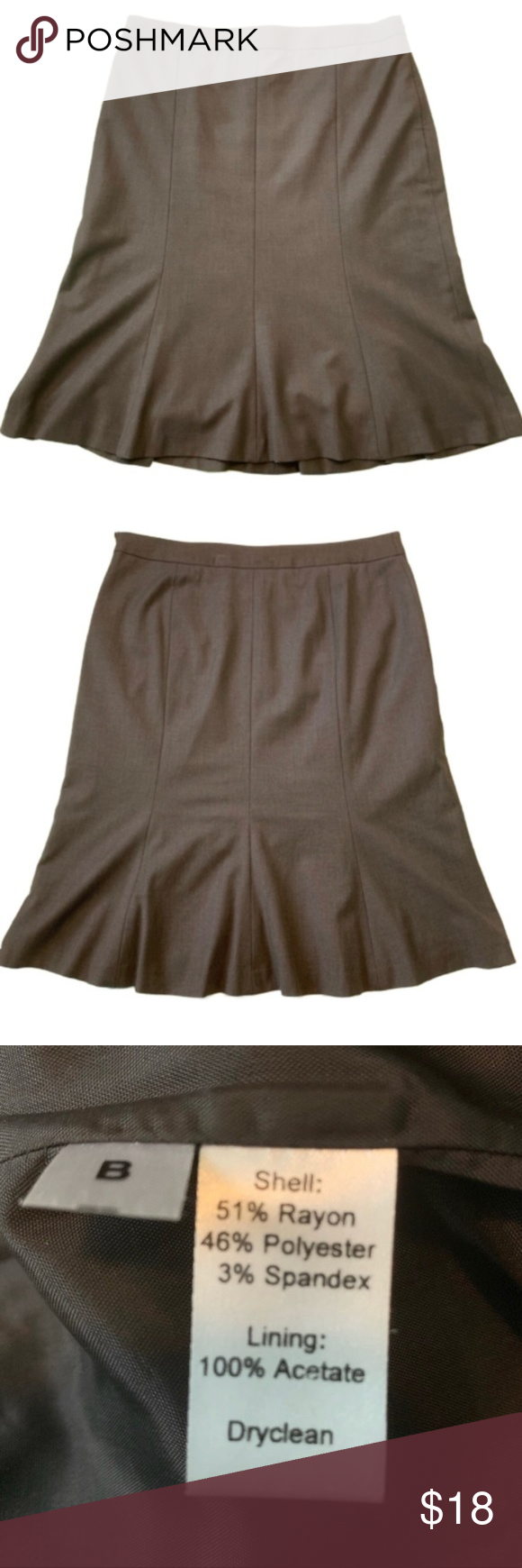Ann Taylor LOFT Brown Trumpet Skirt Size 4T (Tall) Gently Used Side Zipper Lined LOFT Skirts #loftclothes