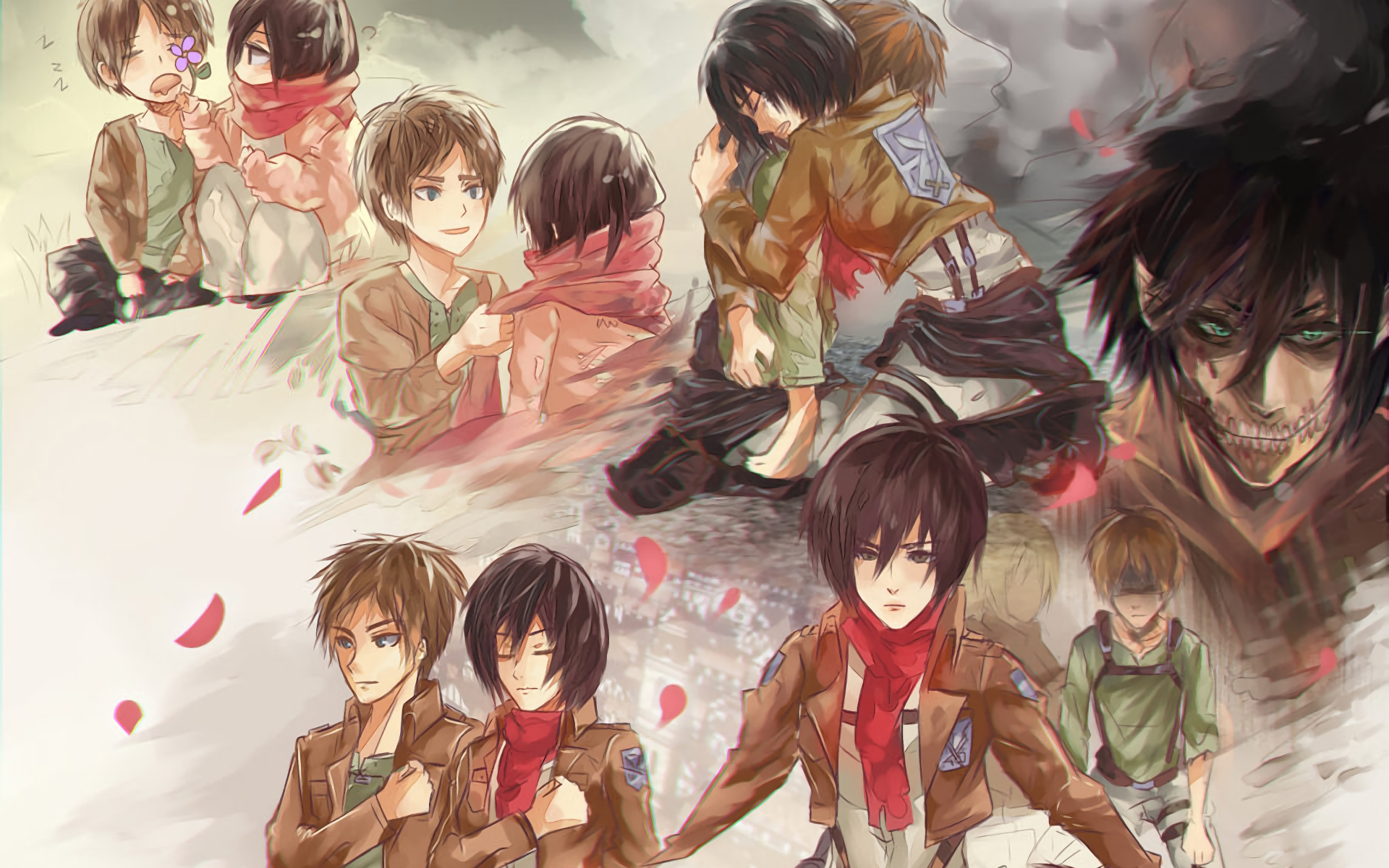Anime Attack On Titan Shingeki No Kyojin Mikasa Ackerman Eren Yeager Wallpaper Attack On Titan Titans Background Images