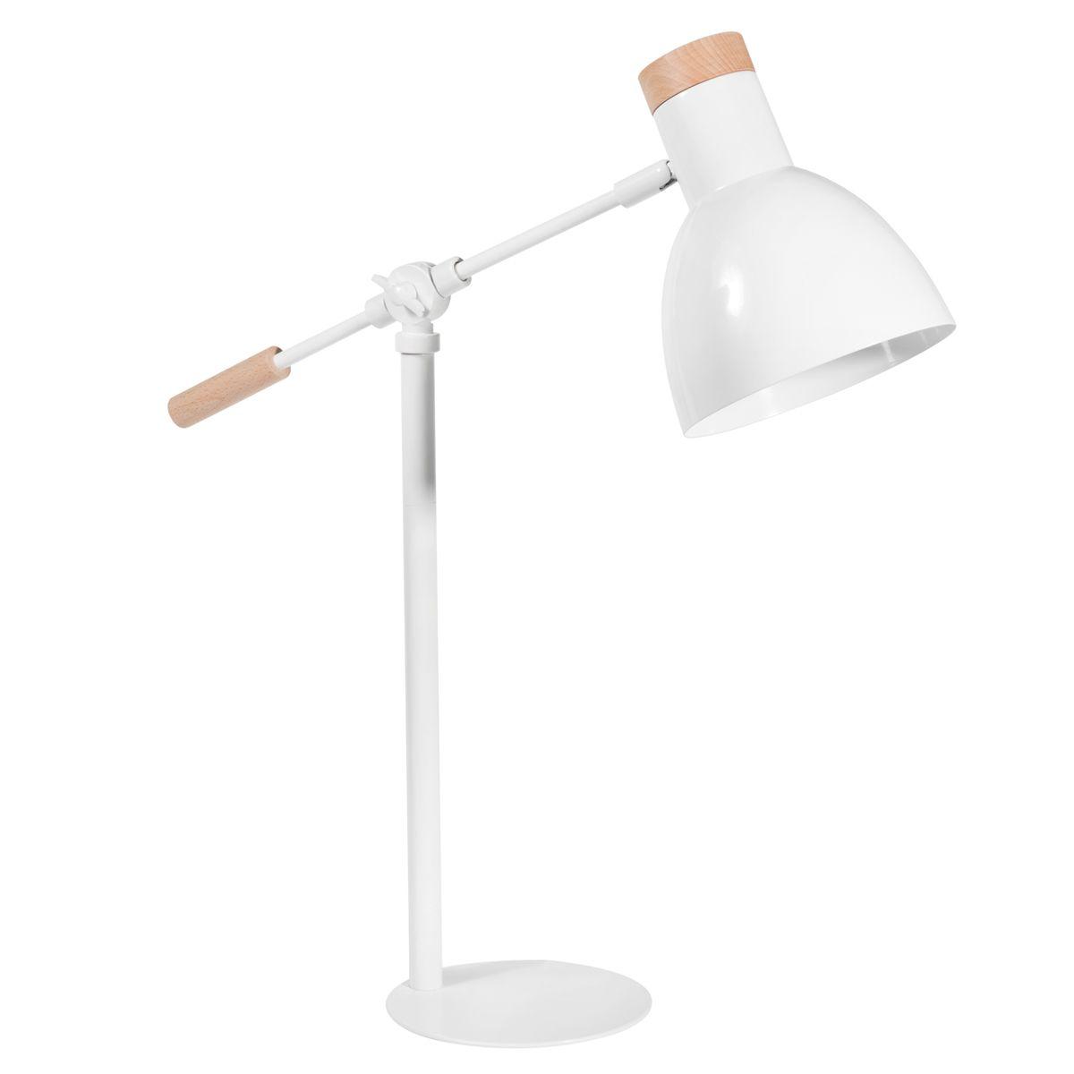 L mpara articulada de metal y madera blanca 55 cm de alto for Lampara blanca ikea