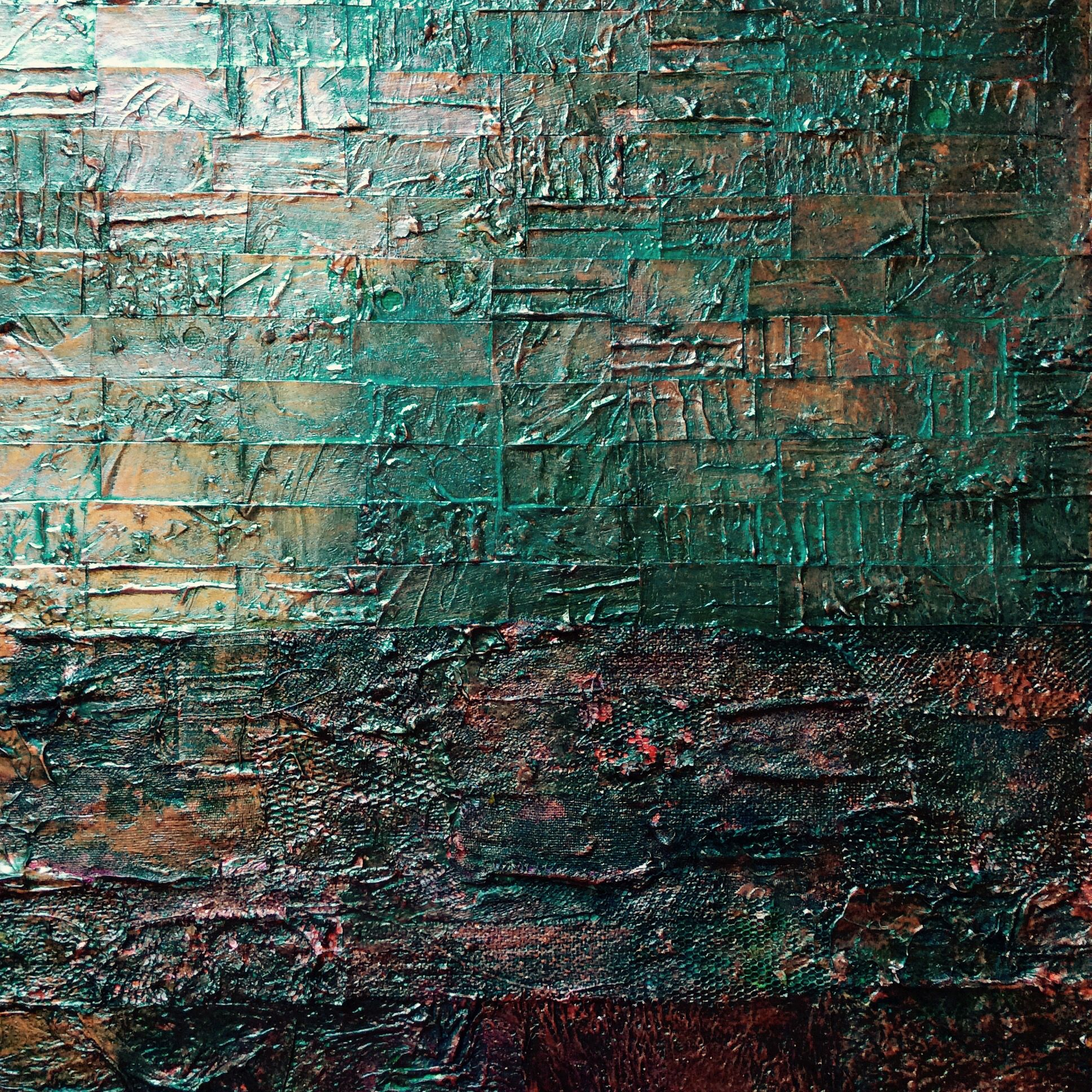 """Lynda Bleyberg. 'Green Reflection'. Detail . Mixed media on box canvas. 16"""" x 16"""" For Sale £350 including shipping . Email: info@ lyndableybergart.co.uk"""