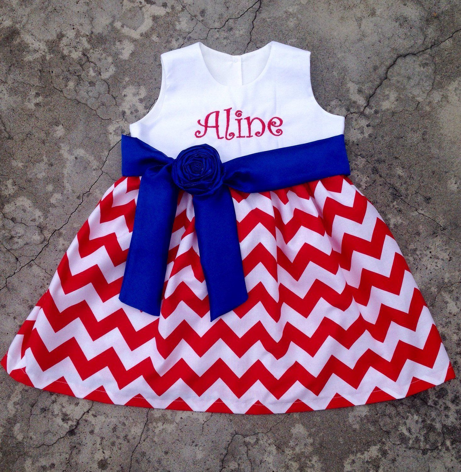 4th Of July Dress Baby Girl Clothes Summer Girl Monogrammed Dress