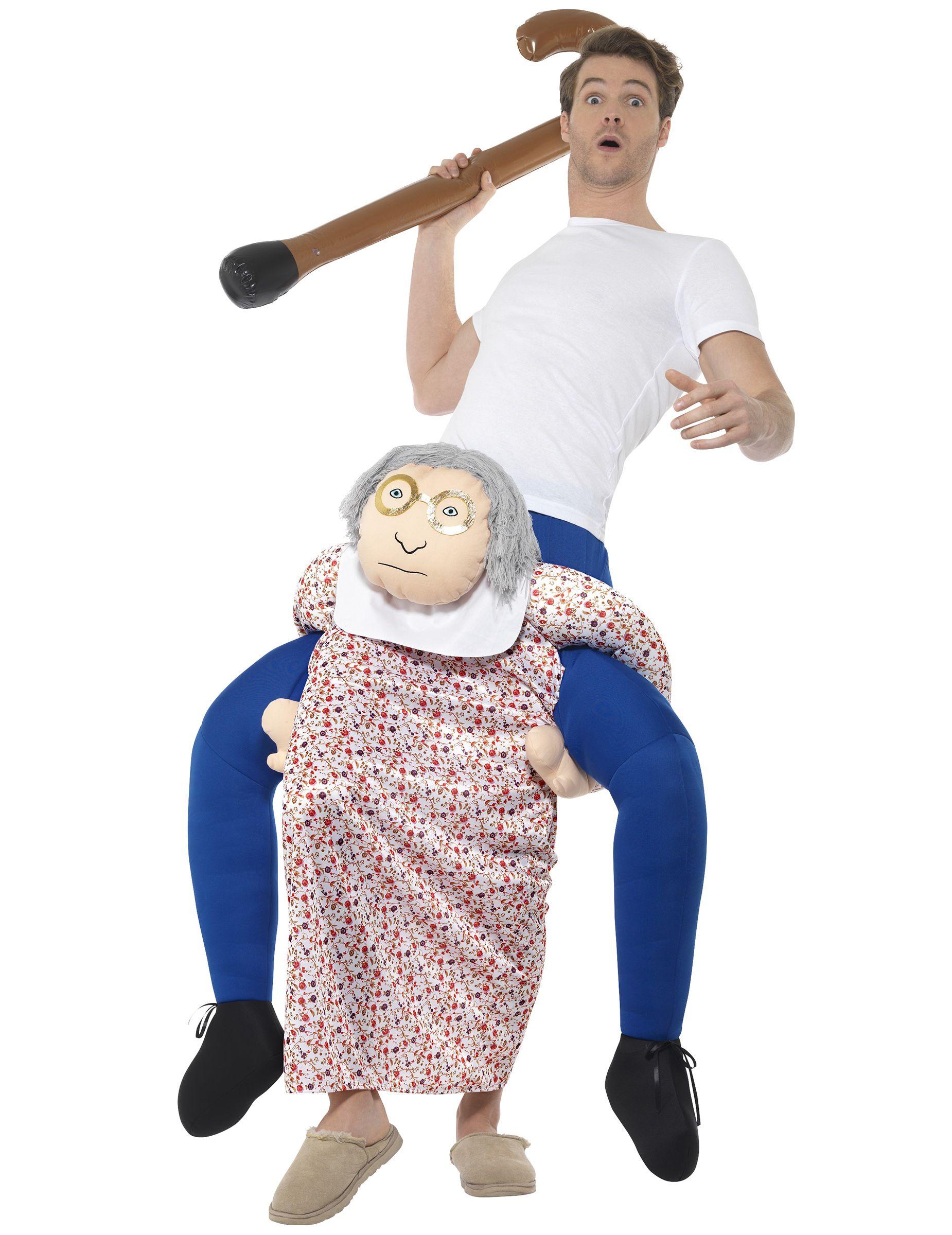 35819ca5766e Costume uomo sulle spalle di nonna carry me per adulto  Un travestimeno  carry me per