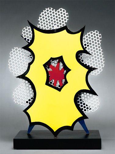 """Roy Lichtenstein """"Small Explosion (Desk Explosion),"""" by Roy Lichtenstein, enamel on steel, 21 1/4 inches high, 1965, number 2/8"""