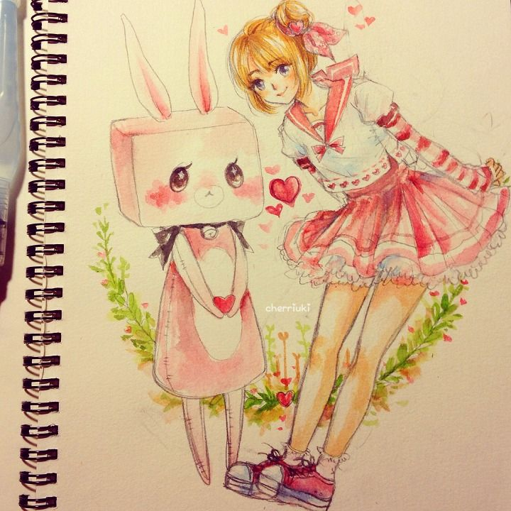 ✮ ANIME ART ✮ anime girl. . .sailor collar. . .skirt. . .lace. . .sneakers. . .pink. . .bunny. . .rabbit. . .flowers. . .heart. . .watercolor. . .drawing. . .sketchbook. . .cute. . .kawaii