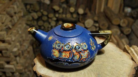 Blue Ceramic teapot Eagle-Owl Clay teapot Wedding by CeramaStudio