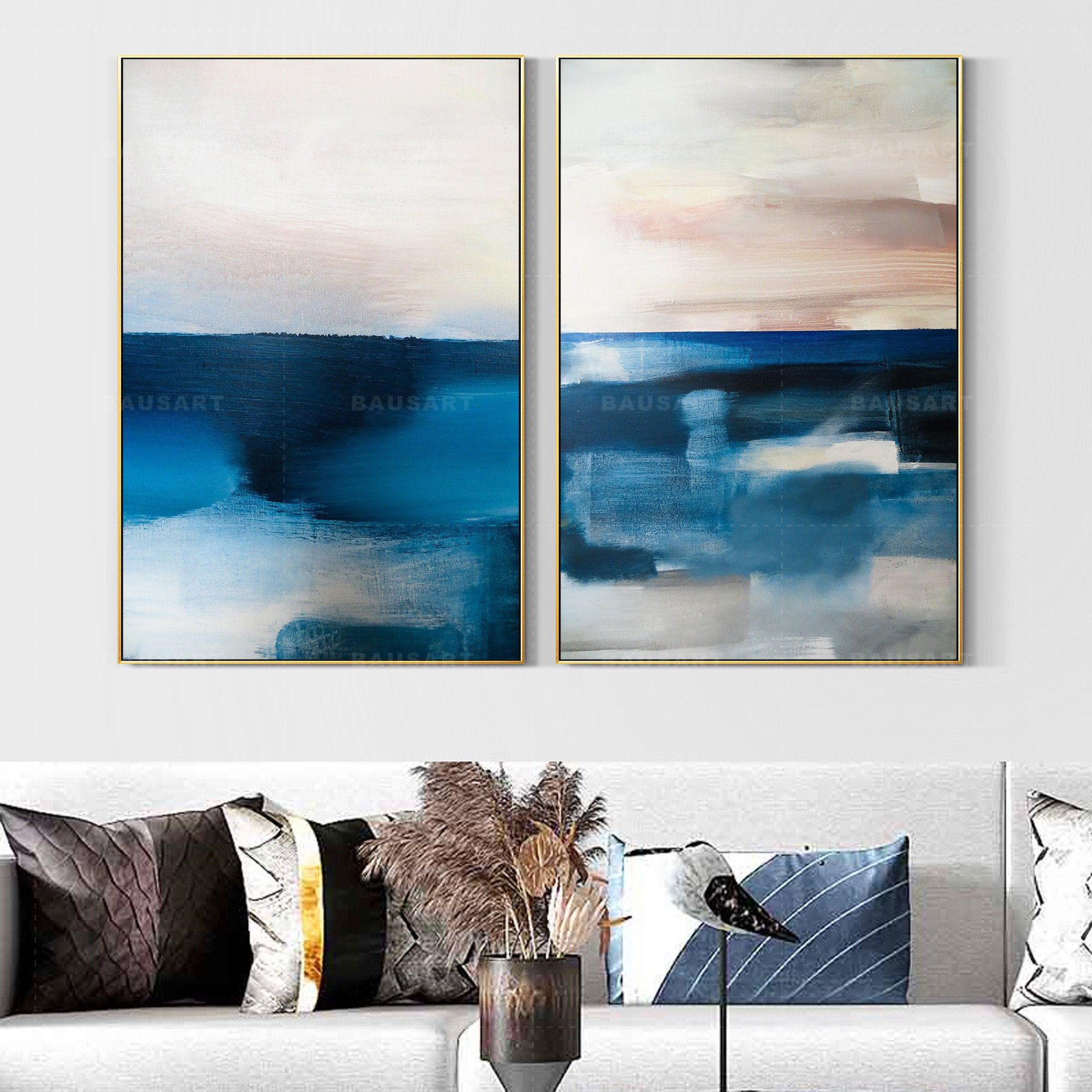 Framed Wall Art Set Of 2 Prints Abstract Blue Print Painting Etsy Frames On Wall Landscape Wall Art Wall Art Sets