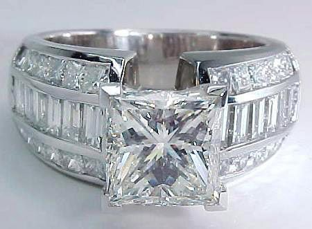 princess cut wedding ring with baguettes - Google Search
