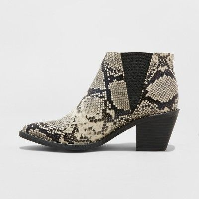 9307166c735 Women s Luna Faux Leather Snake Skin Studded Welt Western Bootie - Universal  Thread Gray 5
