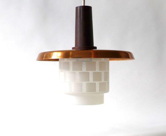 Vintage Kupfer Lampe mit Glasschirm, DDR Vintage