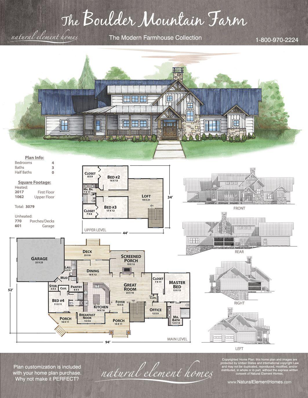 Boulder Mountain Farm Natural Element Homes Farmhouse Mountain House Plans Multigenerational House Plans Modern House Plans