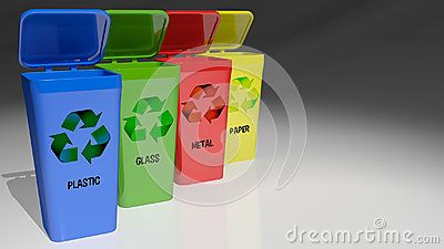 Four Trash Cans With Different Colors Accordingly To The Materials