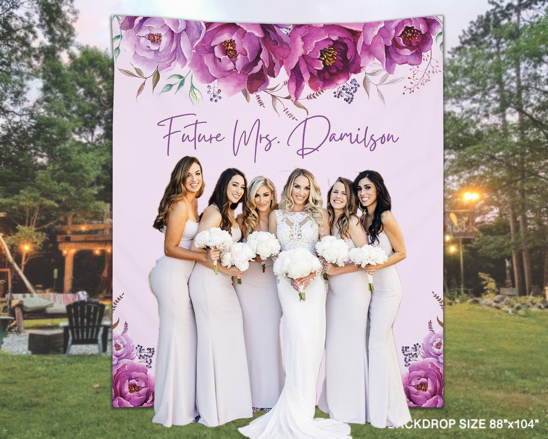 Bridal Party Decor Purple Bridal Shower Banner Custom Purple Floral Banner Purple Bride Floral Banner Purple Wedding Flower Banner