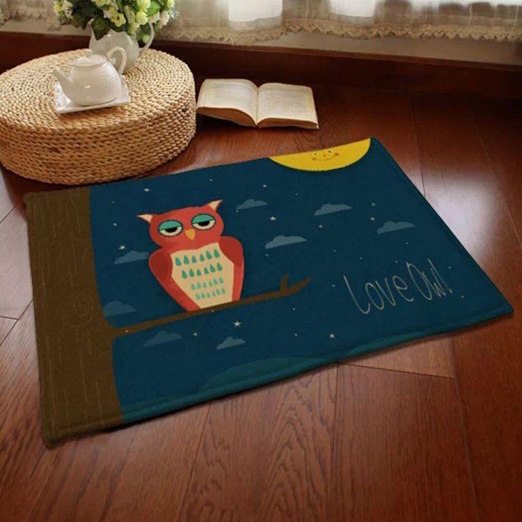 Blue Northern Europe Style Animal Owl Pattern Velvet Floor Mat $19.95 #Lovejoynet