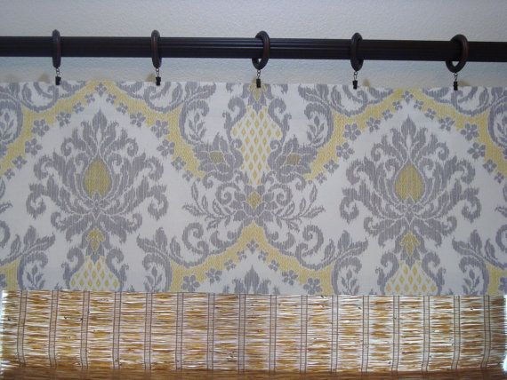 Waverly Bedazzled Yellow And Grey Damask Kitchen Curtain