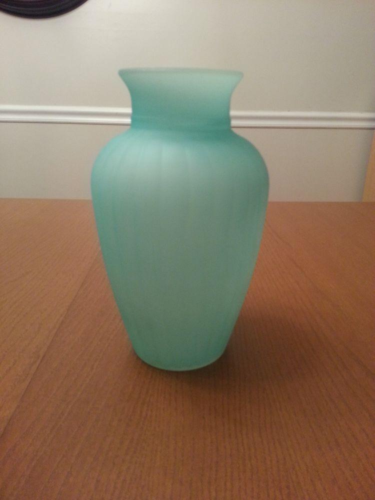 Vintage Cased And Ribbed Blue Satin Glass Vase Large Satin Glass