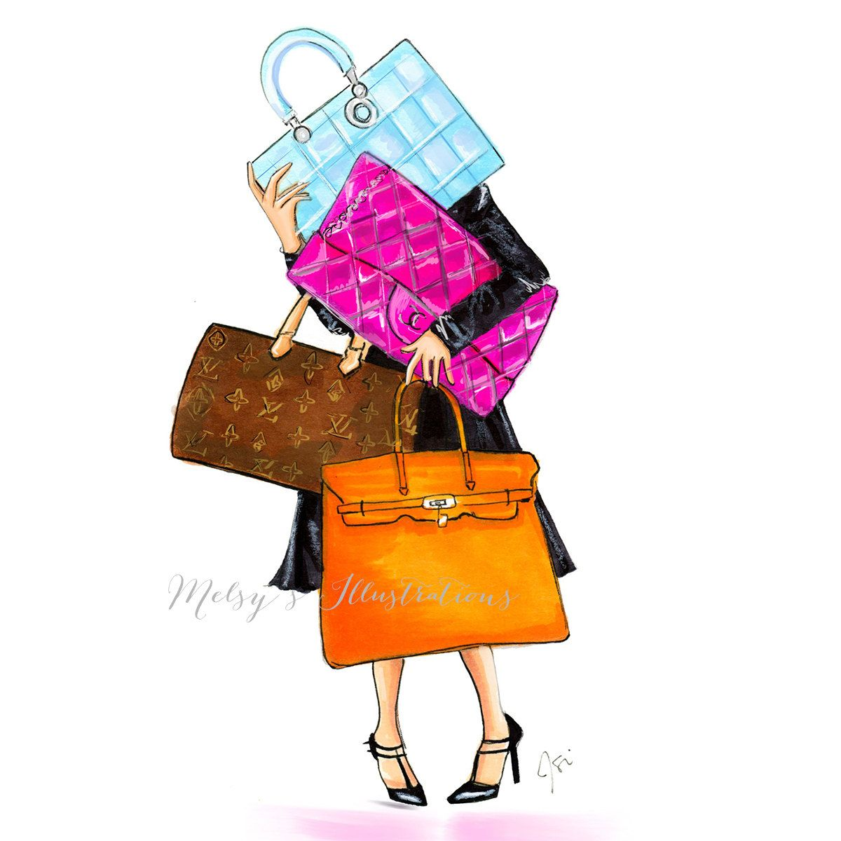 The Bag Lady by Melsys on Etsy Fashion illustration