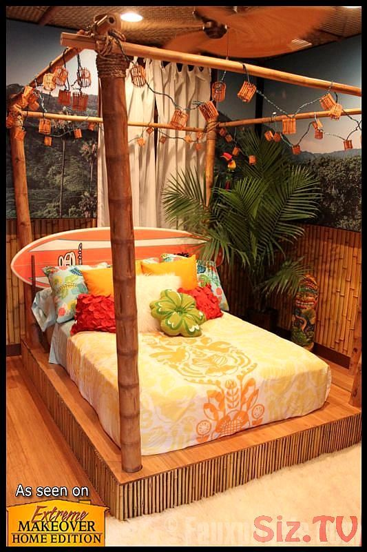 Bamboo faux wood panels on the walls and bed platform create a Tikistyle bedroom for the PrewittBrewer project fromExtreme Makeover Home Edition Bamboo faux wood panels o...