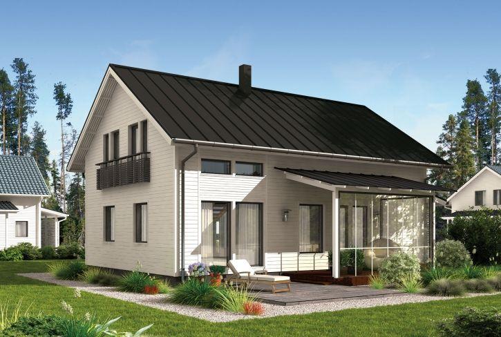 Tehokas pohjaratkaisu aktiivisille perheille – Rauno: 144 m², 5 makuuhuonetta, 1,5-kerroksinen omakotitalo