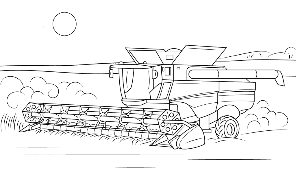 John Deere Combine Harvester Coloring Pages | Farm Machinery ...