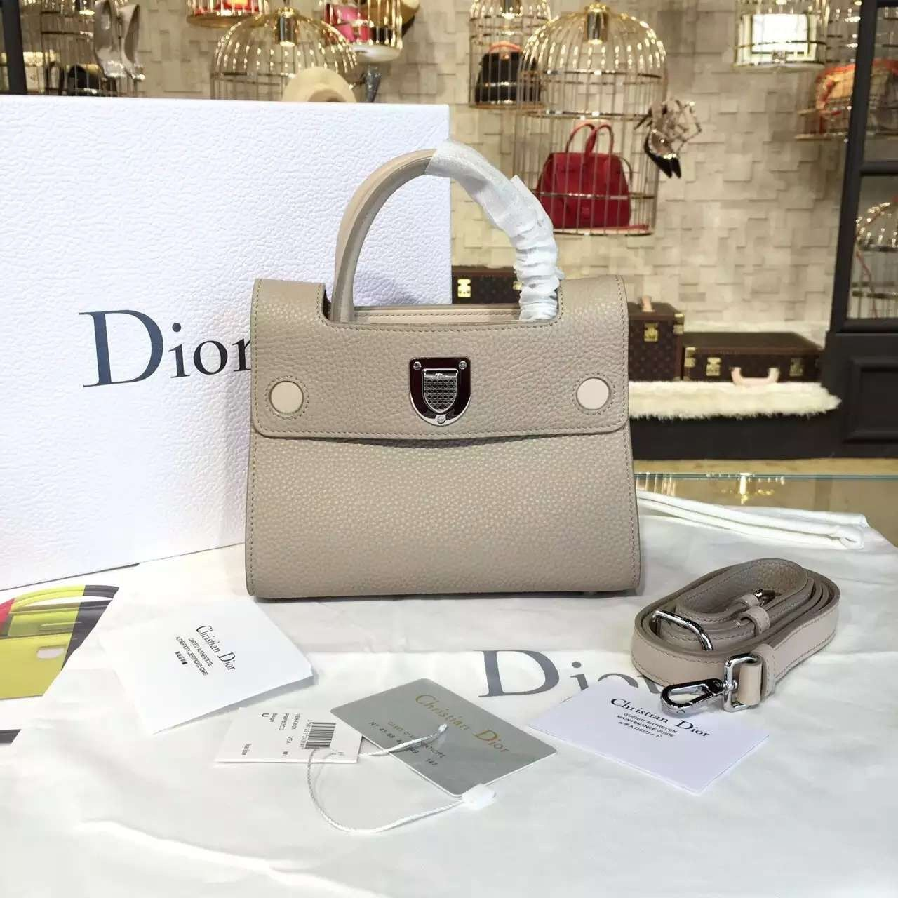6fc8d3a993 Dior Diorever Tote Mini Bag Calfskin Leather Bag Fall/Winter 2016  Collection, Beige
