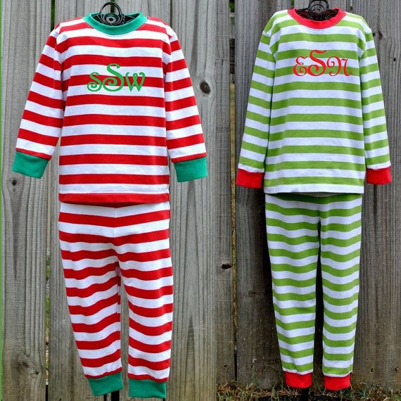 Embroidered Monogrammed Christmas Pajamas PREORDER by ReeseyRoos