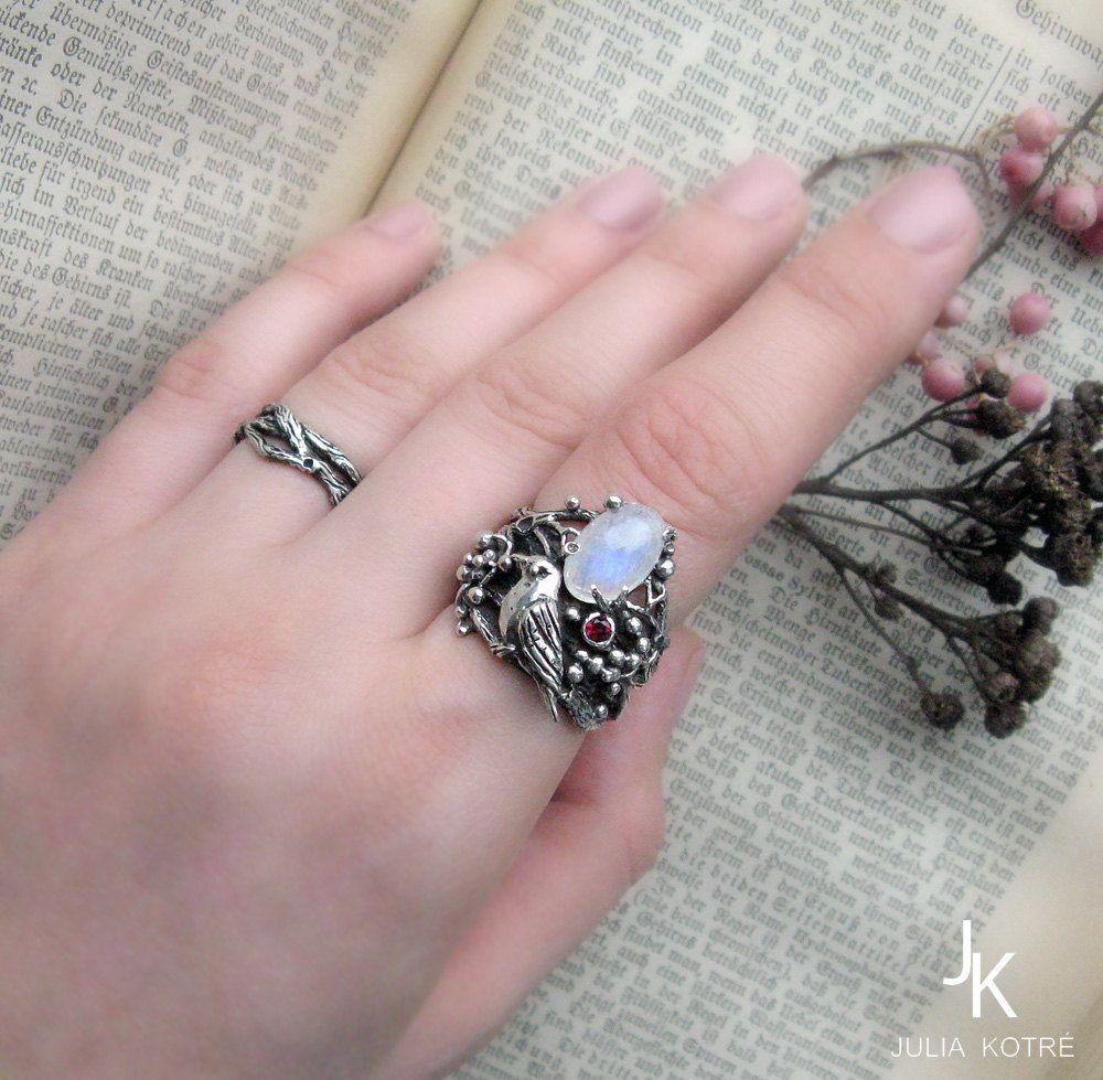 Bird ring Twig ring Botanical bird ring by JuliaKotreJewelry | Rings ...