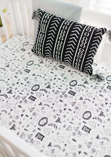 Black And White Woodland Crib Bedding, Black And White Aztec Nursery Bedding