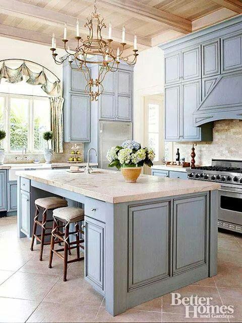 Light pastel blue kitchen