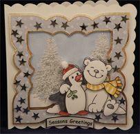 Christmas Animal Friends, Penguin & Polar Bear (6 x 6 decoupaged card)