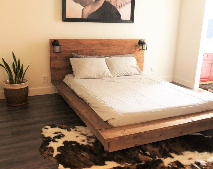 Floating Wood Platform Bed Frame With Lighted Etsy Rustic