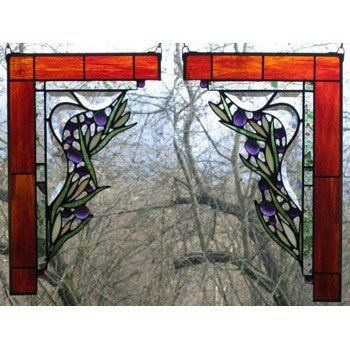 Large Floral Corner Pair Stained Glass Window Panels By