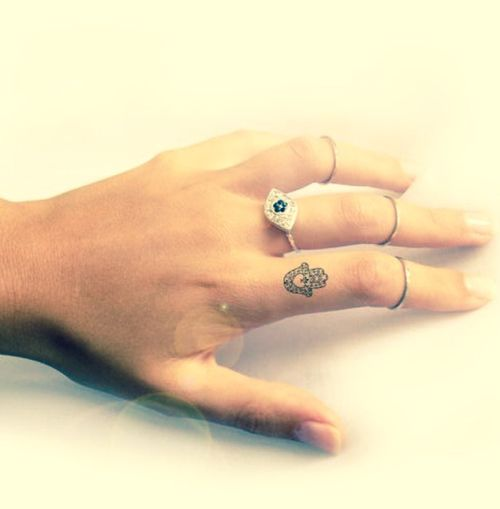 Girly Ideas For Bedrooms: Cute Small Hamsa Finger Tattoo