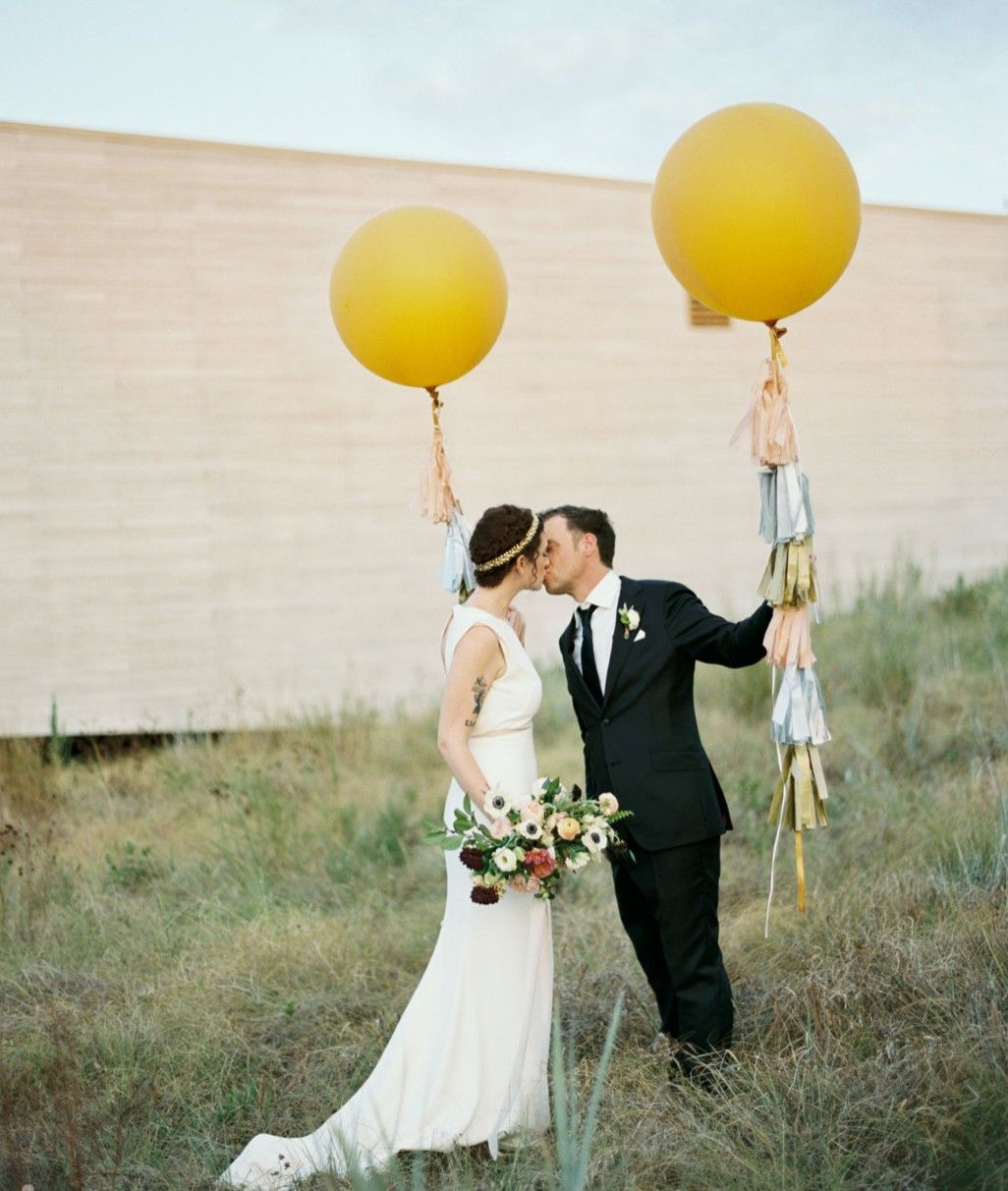 Mustard balloons small intimate vows pinterest