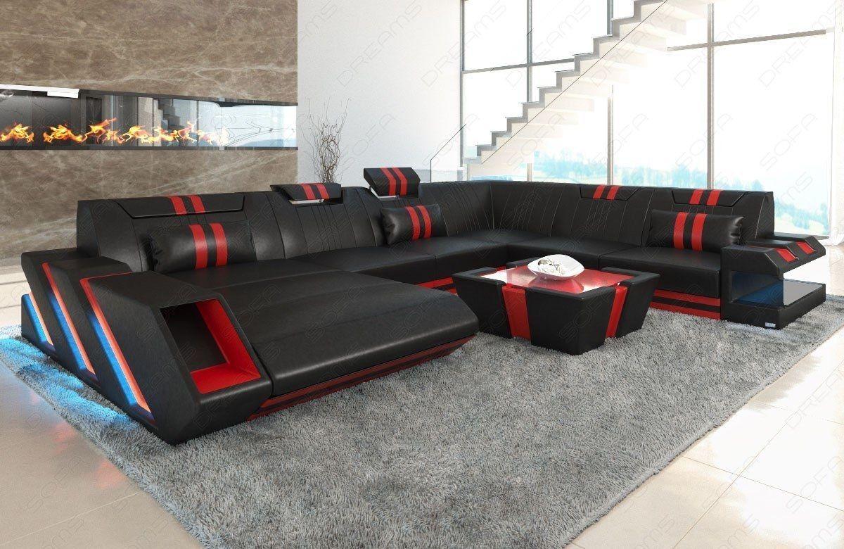 Xxl Interior Design Leather Sofa Apollonia With Ottomane Led Usb