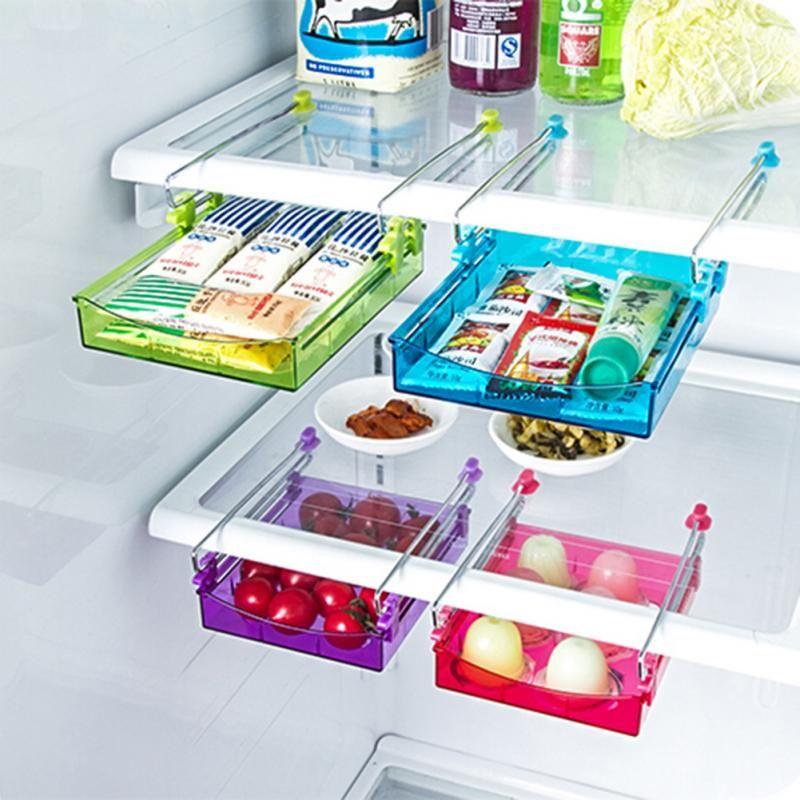 Kitchen Slide Freezer Fridge Space Saver Shelf Holder Box Organizer Rack H9K5