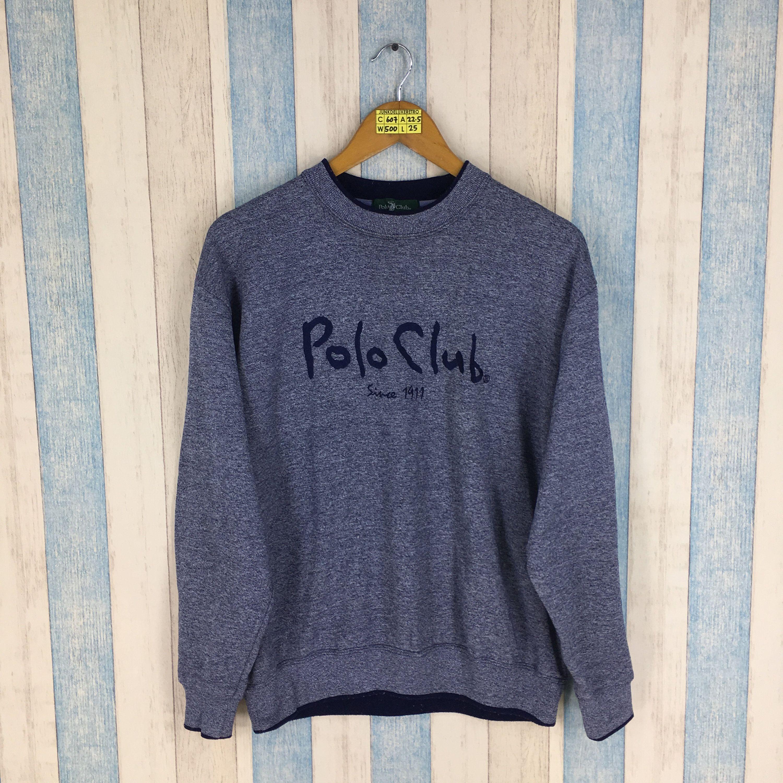 POLO CLUB Sweatshirt Gray Large Vintage 90\u0027s Ralph Lauren