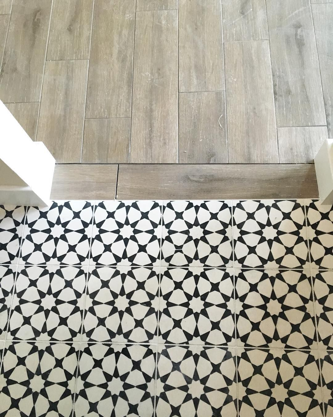 Vanessa matsalla wood to cement tile transition for White tile flooring ideas