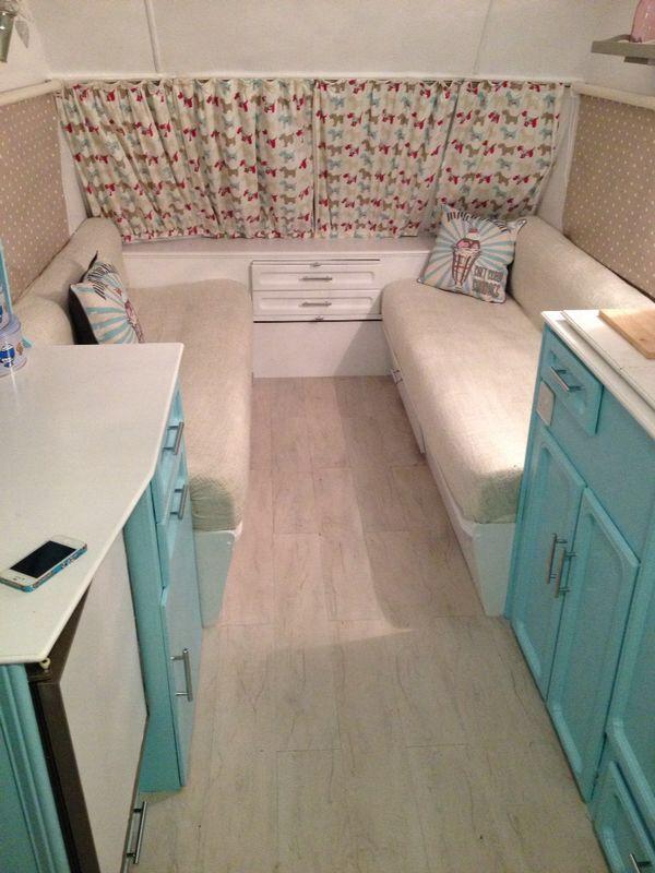 Caravan makeover white & bright blue … | Caravan revamp ...