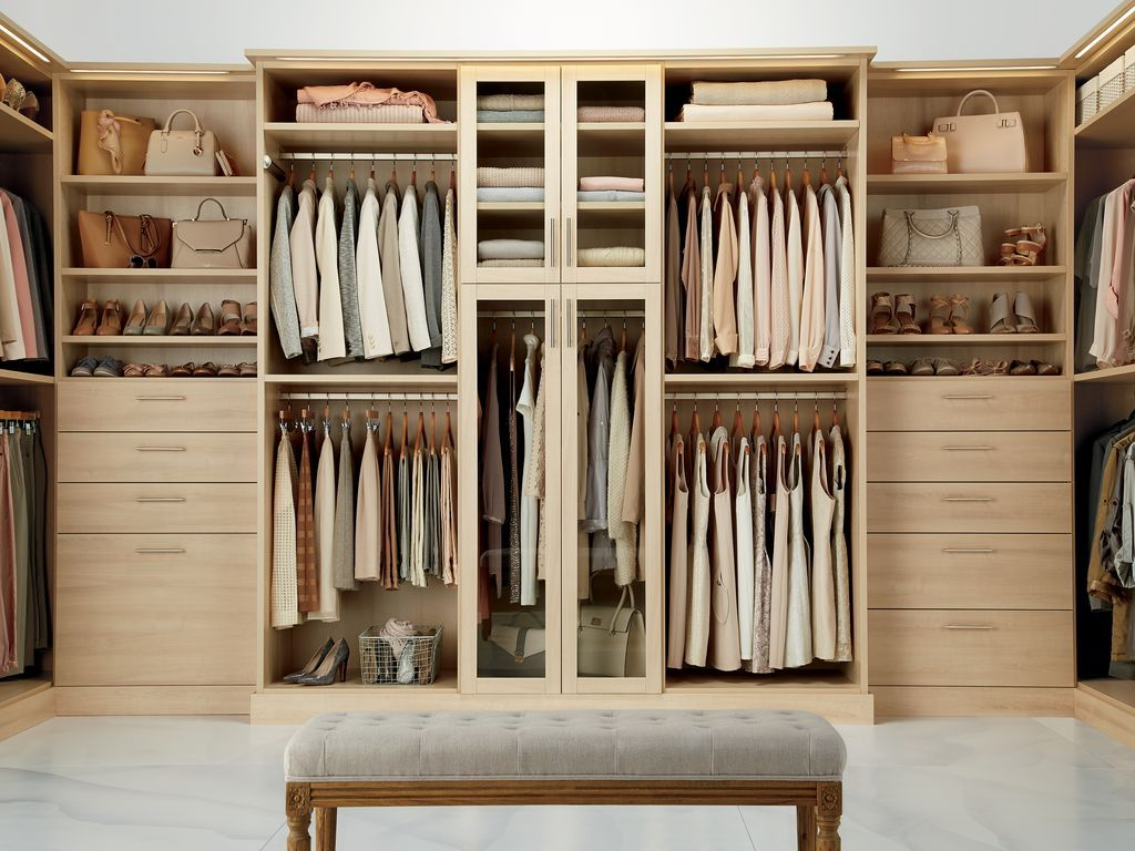 California closets las vegas - Transitional Closet With High Ceiling California Closets Custom Closet Concrete Floors Built