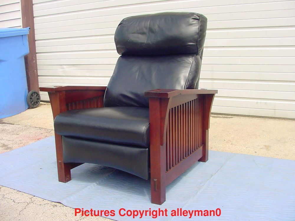 Stickley Mission Style Spindle Morris Leather Recliner Arm Chair Cherry Wood & Stickley Mission Style Spindle Morris Leather Recliner Arm Chair ... islam-shia.org