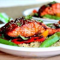 Sesame Ginger Sweet Teriyaki Salmon with Garlic Quinoa Stir-fry | Looks delish! (and healthy)
