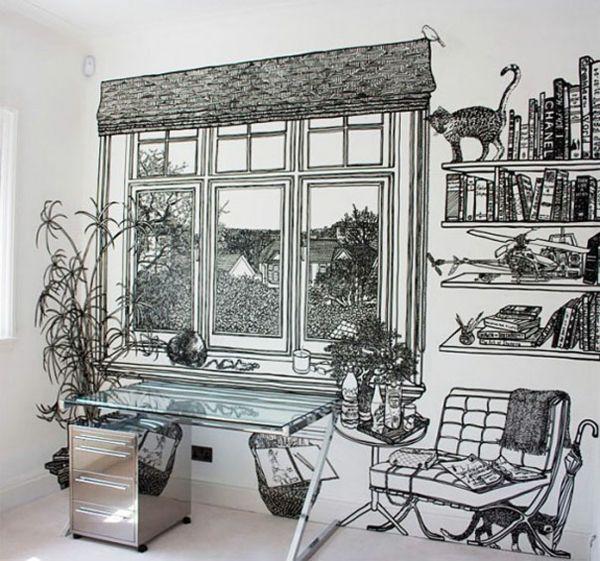 Wände gestalten Ideen - die Wandbilder von Charlotte Mann -   - Wnde Gestalten Ideen