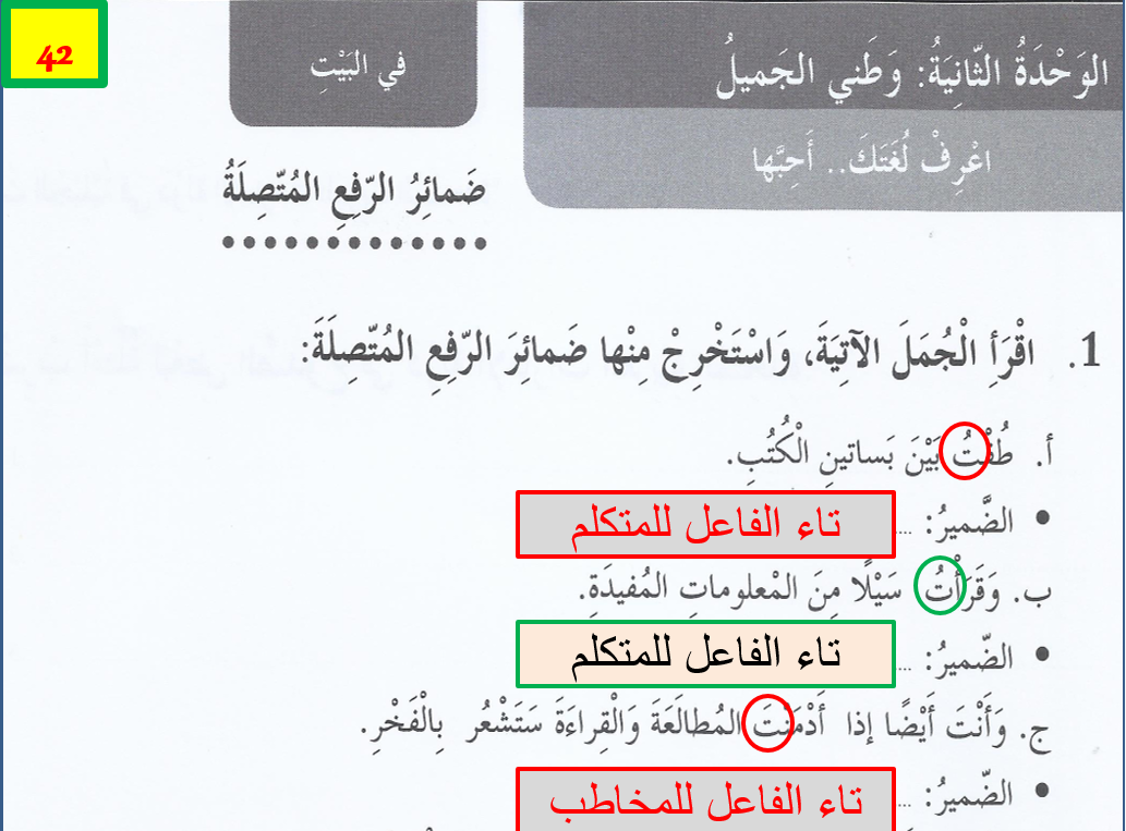 بوربوينت كتاب النشاط درس ضمائر رفع المتصلة مع الاجابات للصف الخامس مادة اللغة العربية Bullet Journal Journal