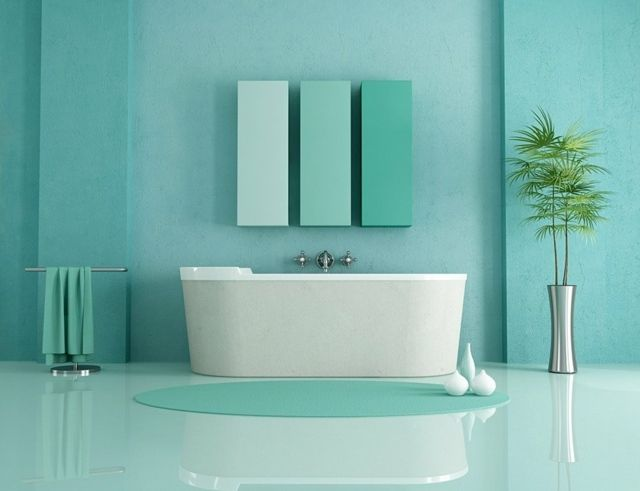 Peinture murale quelles seront les tendances en 2015 salle de bain minimaliste vert - Peinture murale contemporaine ...