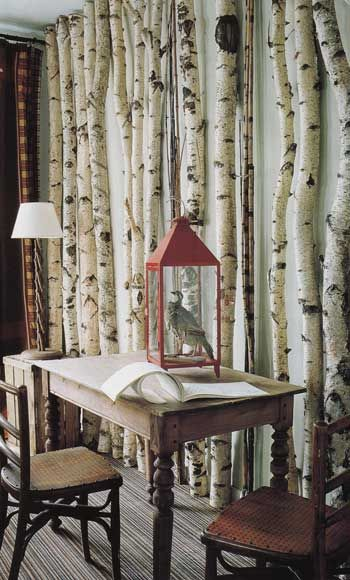 styleitchic: INTERIOR INTERIOR WITH CONSTRUCTION OF BRANCHES ... PART 2   use branches as a wall.