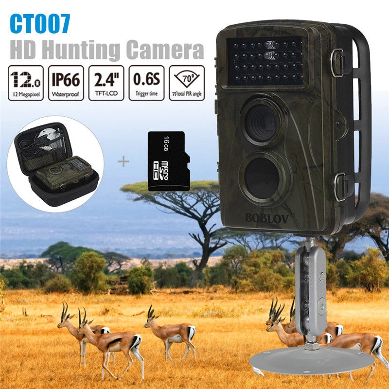 81.81$  Watch here - http://alidvg.worldwells.pw/go.php?t=32788441084 - Free shipping!BOBLOV CT007 16GB 1080P 12MP Hunting Scouting Trail Camera Game Wildlife IR LED Night Vision with Free Bag