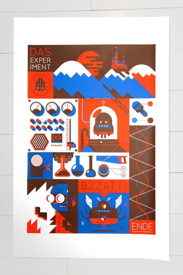 Screenprint - 'Das Experiment' by Loulou and Tummie , via Behance